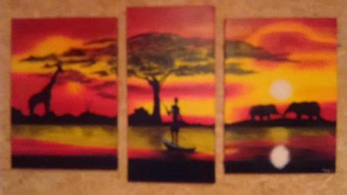 cuadro triptico africano en bast.  1.5mt en oleo.