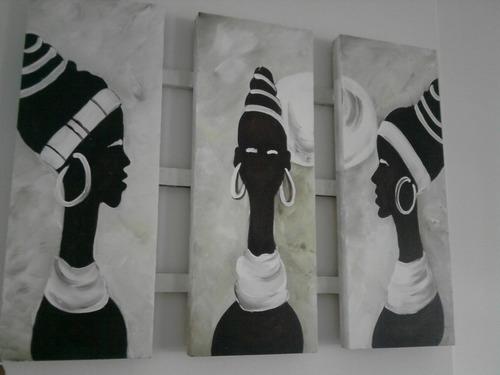 cuadro triptico africano !!    original -oleo. -mas  medidas