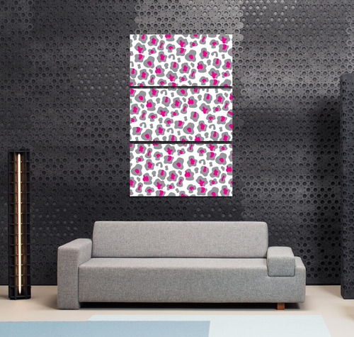 cuadro triptico animal print leopardo rosa gris 40x60cmtotal