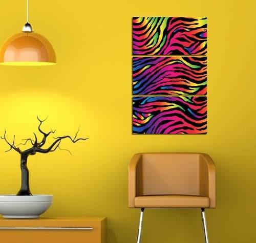cuadro triptico animal print rainbow arcoiris 40x60cm total