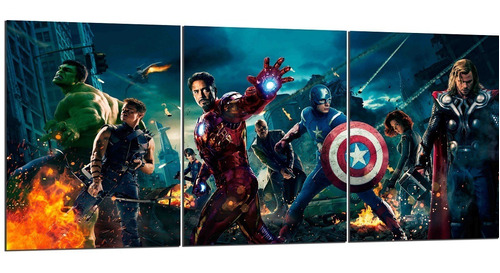 cuadro triptico avengers vengadores 90x40cm