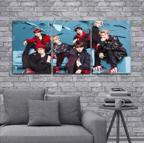 cuadro triptico bts decoracion 90x40cm