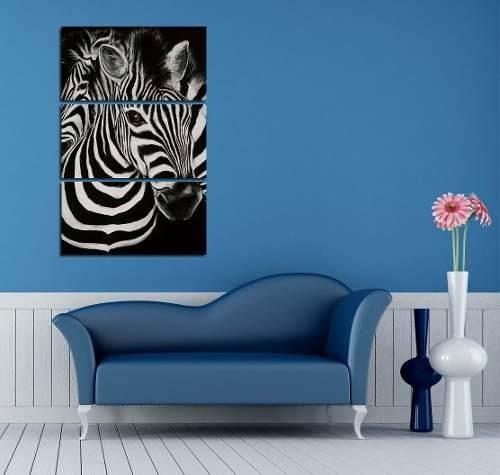 cuadro triptico cebra animal print blanco negro 60x90cmtotal