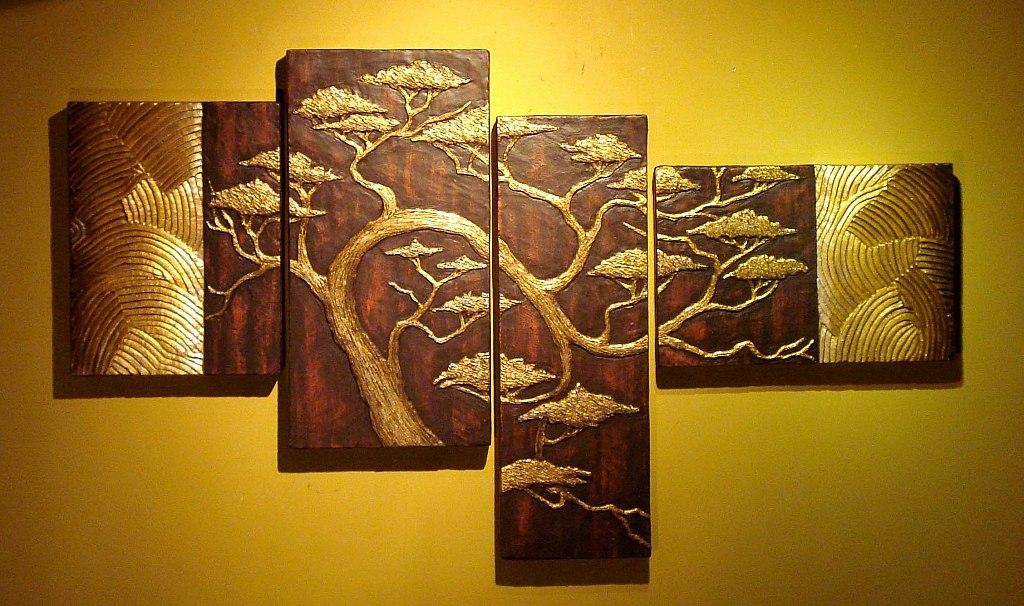 cuadro triptico con relieve tipo oriental rbol cerezo