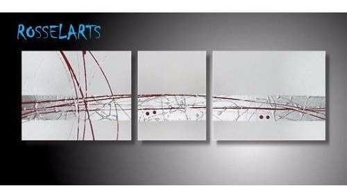 cuadro triptico decorativo abstracto  blanco plateado