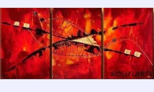 cuadro triptico decorativo abstracto rojo encendido
