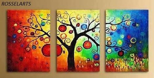 cuadro triptico decorativo arbol de vida