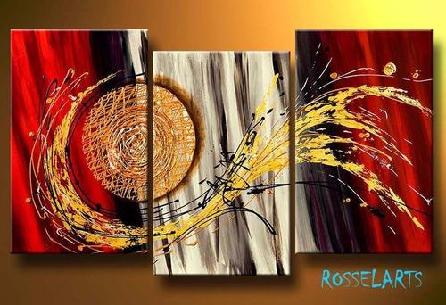 cuadro triptico decorativo  circulo dorado