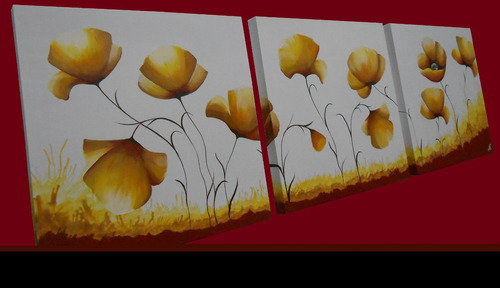 cuadro triptico floral moderno decoracion