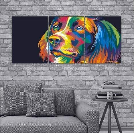 cuadro triptico gato pop para decoracion del hogar 90x40cm