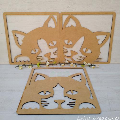 cuadro tríptico gatos  -corte láser -