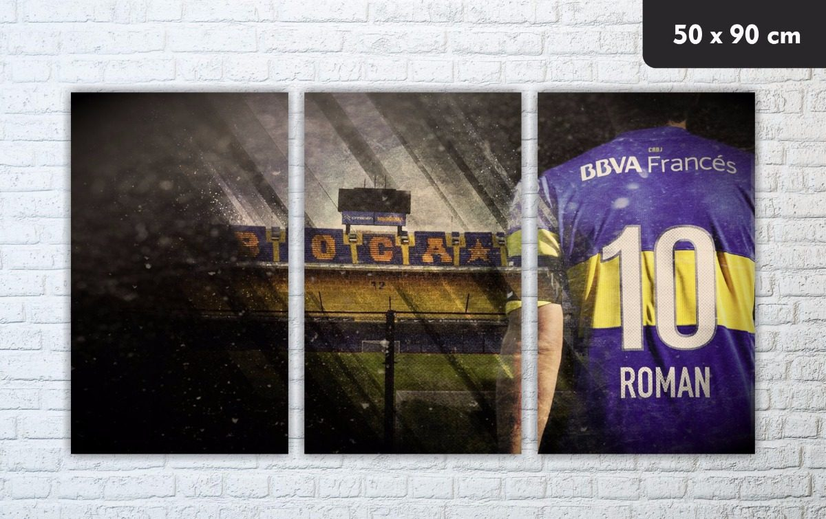 Cuadro Triptico Juan Roman Riquelme Boca Juniors 730 00 En  # Muebles Riquelme