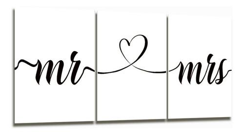 cuadro triptico mr and mrs frase decoración 90x40cm