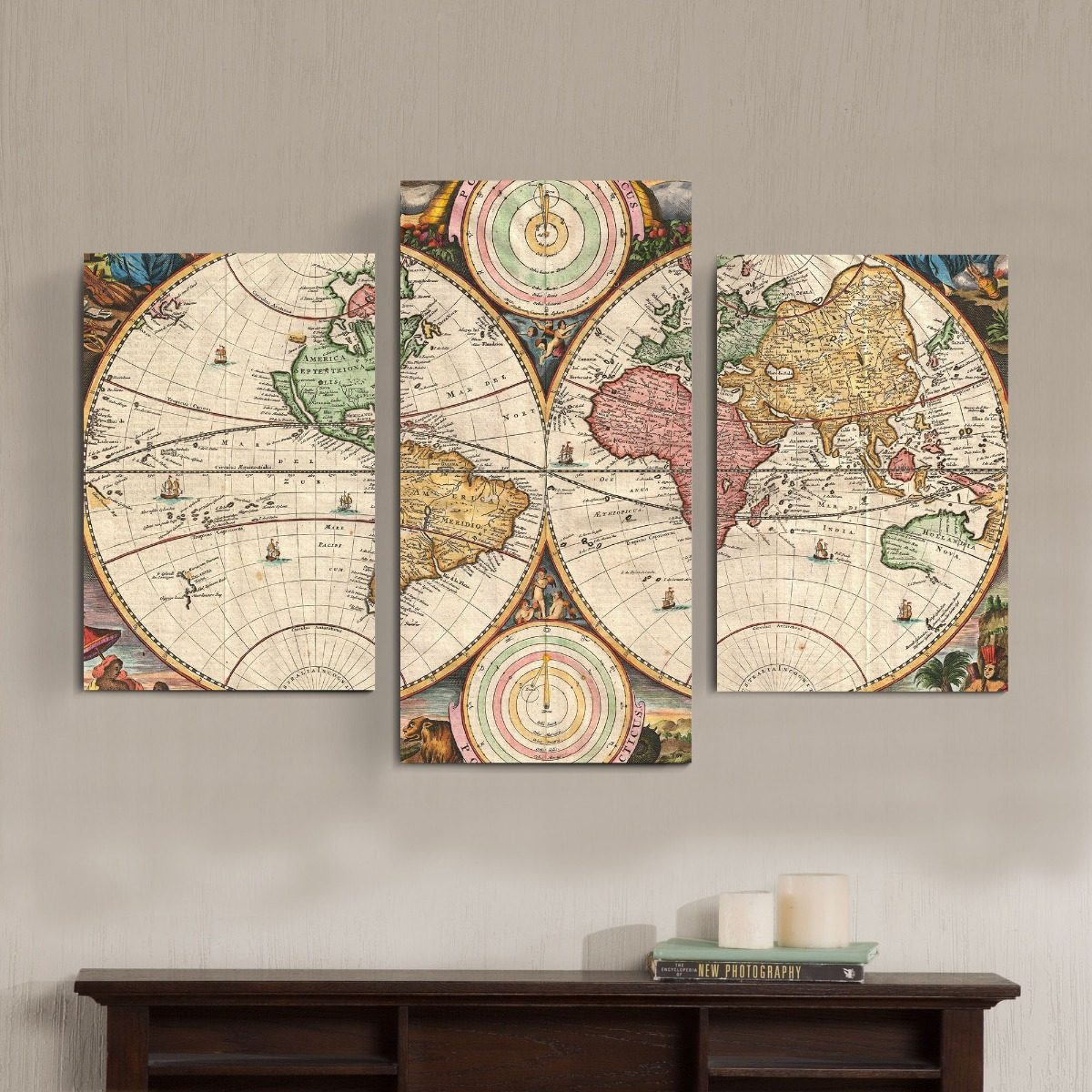 Cuadro Triptico Mural Mapamundi Moderno Planisferio Abstract ...
