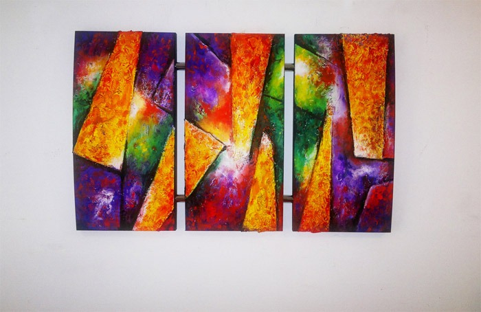 Cuadro triptico original pintura moderna aya12 - Cuadros pintura acrilica moderna ...