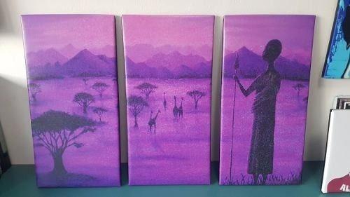 cuadro triptico paisaje mujeres africanas violeta 60x90cm