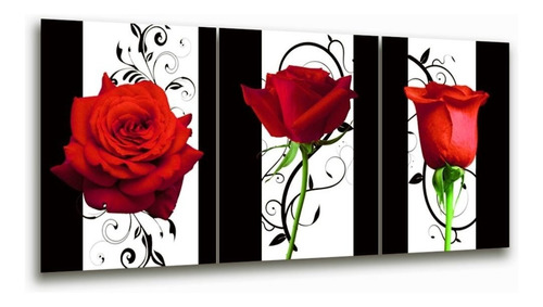 cuadro triptico rosas rojas naturaleza decoración 90x40cm
