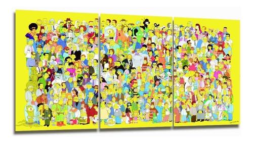 cuadro triptico simpsons 90x40cm
