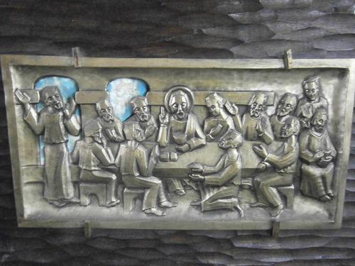 cuadro ultima cena en bronce italiana antigua