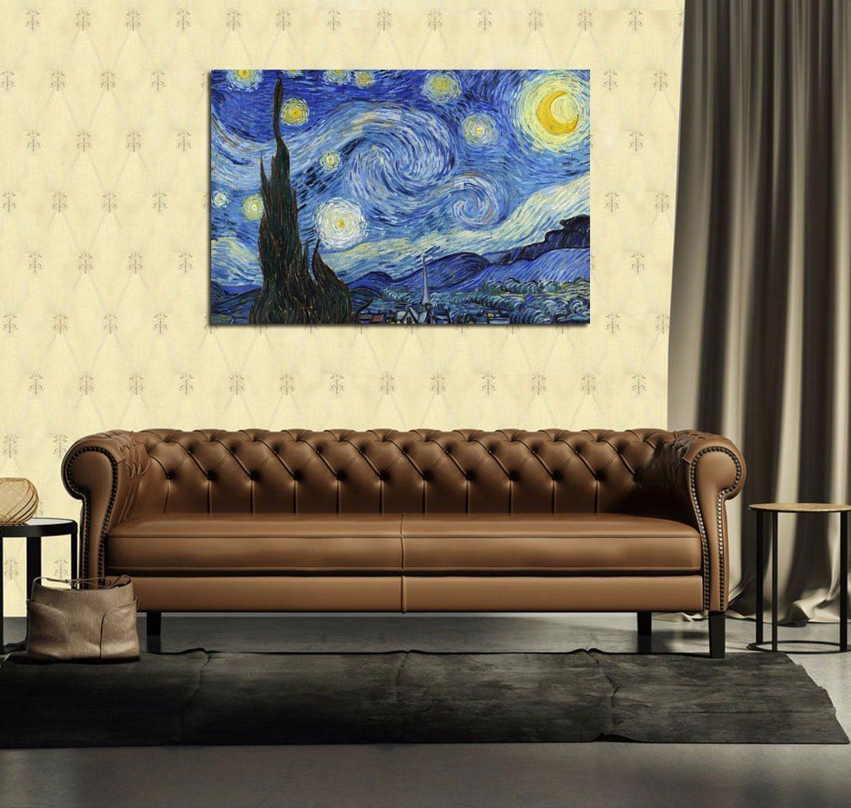 Cuadro Van Gogh Starry Night Noche Estrellada Cielo 40x60cm  # Vang Gogh Muebles