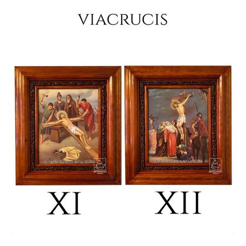 cuadro vía crucis o viacrucis en madera 15 piezas 40x35 cm