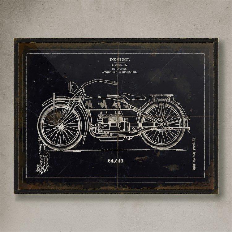 Cuadro Vintage Moto Negra Wall Art (45x60cm) - $ 1.216,25 en Mercado ...