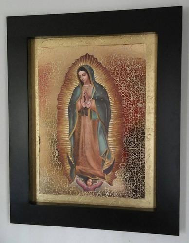 cuadro virgen de guadalupe efecto craquel dorado marco cajón