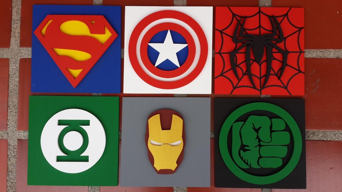 Marvel Super Heroes 60 Superhéroes: Cuadros 2d Mdf Decorativos Avengers Vengadores Super
