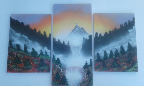 cuadros a mano  tripticos paisajes