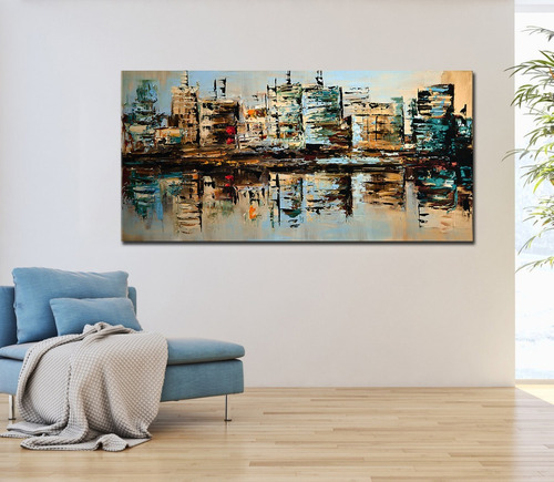 cuadros abstracto ciudades con relieve, oficina, sala