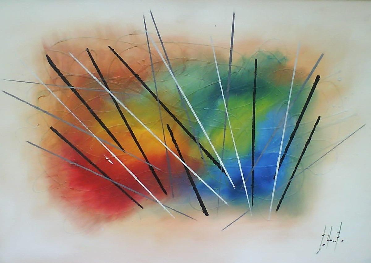 Cuadros abstractos al oleo con marco de madera ikean for Fotos de cuadros abstractos al oleo