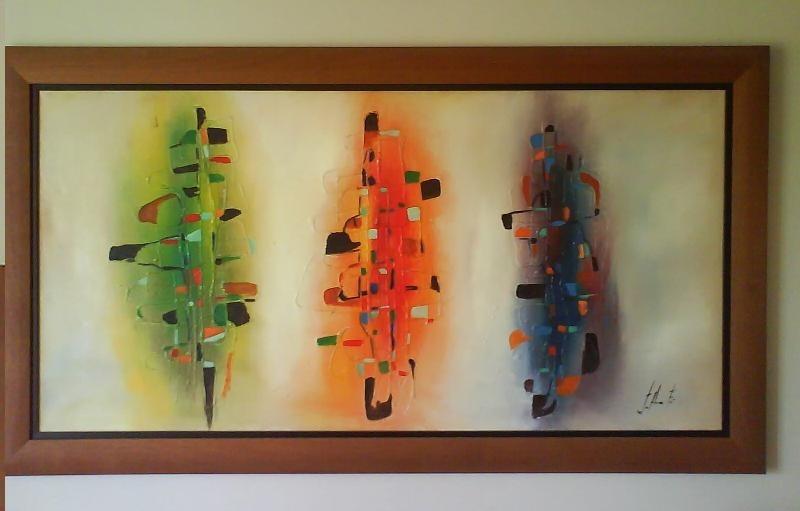 Cuadros Abstractos Al Oleo Con Marco De Madera - Ikean - $ 79.900 en ...