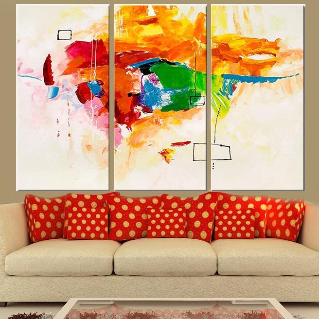 cuadros abstractos grandes habitacion triptico stock living - Cuadros Grandes Dimensiones