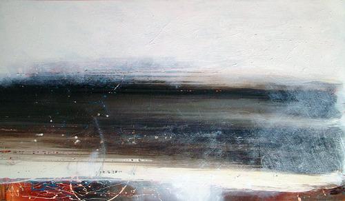 cuadros abstractos modernos - mucho blanco apaisado