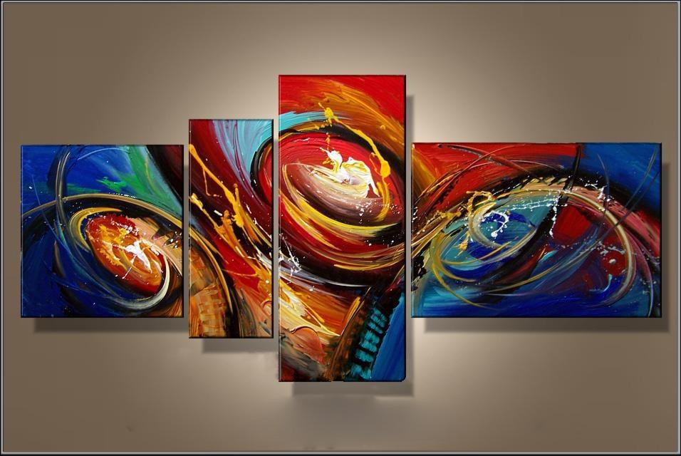 cuadros abstractos modernos polipticos coloridos 80