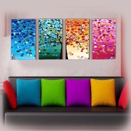 cuadros abstractos modernos tripticos living comedor decorar