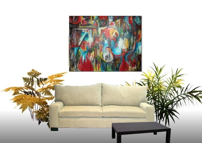 Cuadros abstractos peces mar pintura moderna arte for Cuadros de peces