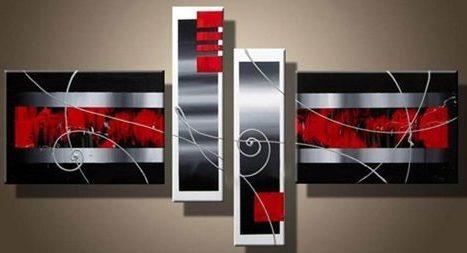 Cuadros abstractos polipticos decorativos rojo gris 70 for Donde puedo comprar cuadros decorativos