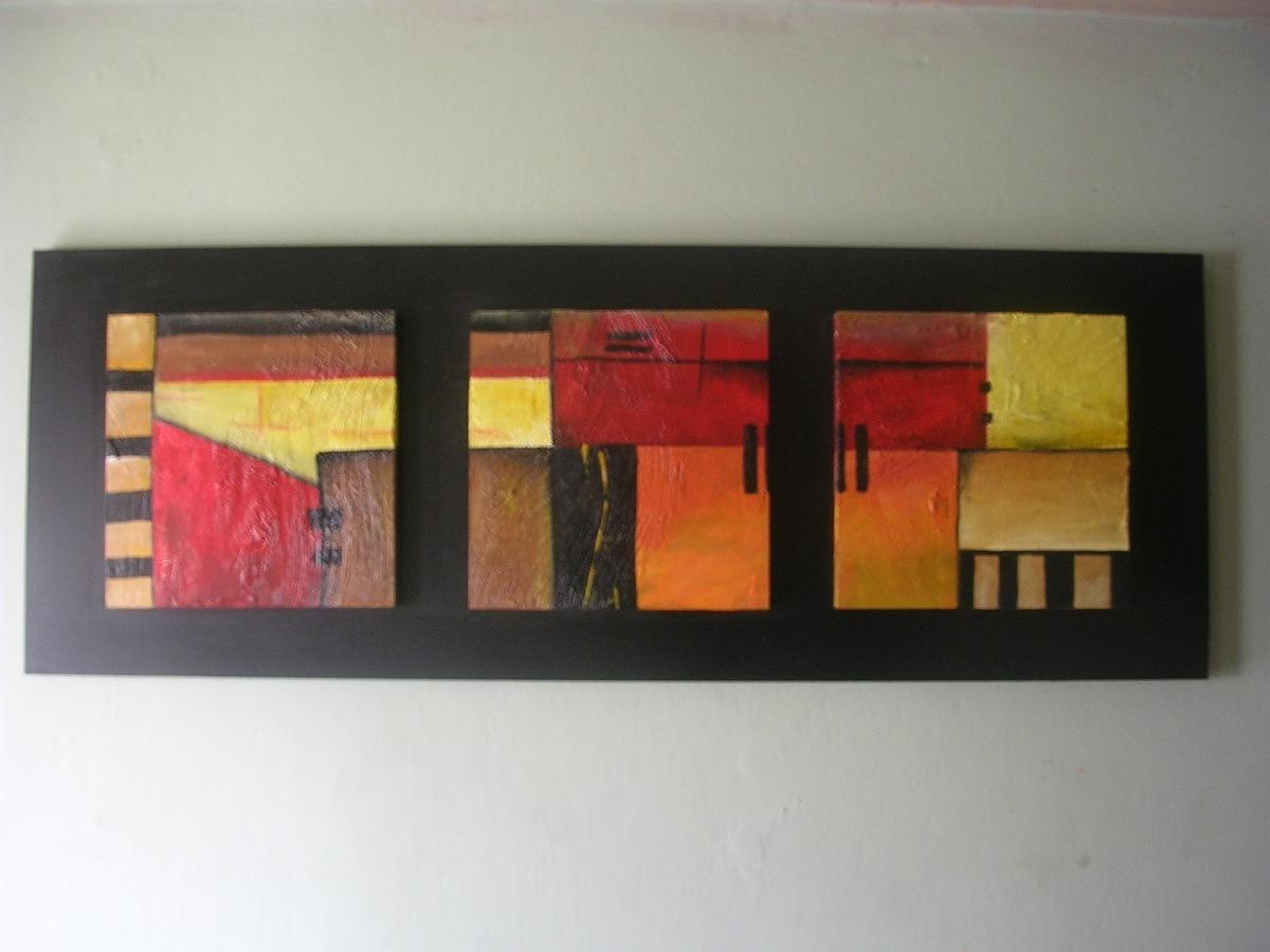 Cuadros abstractos tripticos en marco o soporte 115x50cms for Cuadros abstractos con marco