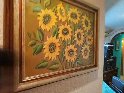 cuadros al oleo de girasoles y gladiolas con marco rustico