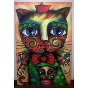 5d08bbb36df94 Oleo Gata Protectora Artista Cubano Carlos Cesar Román