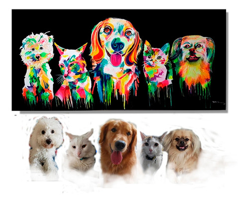 cuadros arte rostros de colores personalizados mascotas.