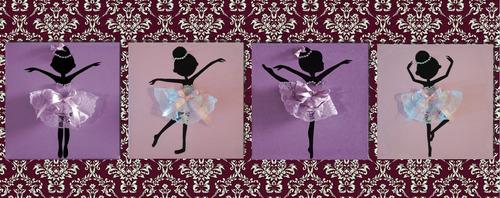 cuadros bailarinas infantiles 25x25 con relieve