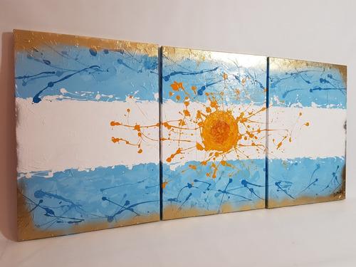 cuadros bandera argentina abstracto texturados pintados