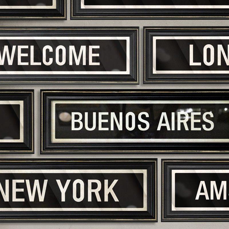 Cuadros Cartel Ciudades Vintage (14x44cm) B Aires York Paris - $ 349 ...