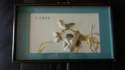 cuadros chinos de epoca 70 con figuras de nacar
