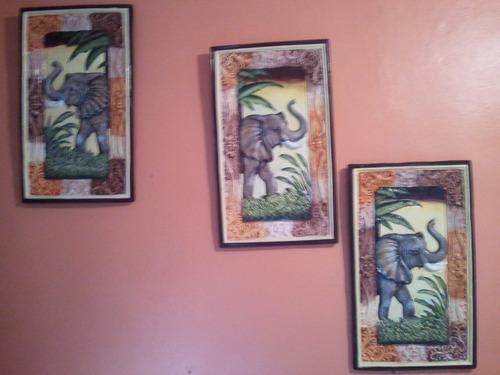 cuadros con diseños de elefantes en yeso 829 204 9016