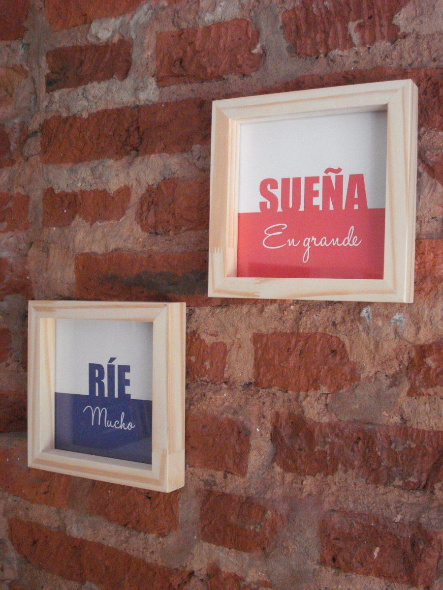 Cuadros Con Frases Diseño - Marco Madera 18x18 Cm - $ 150,00 en ...