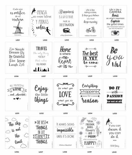 cuadros con frases que inspiran lámina a elección 13 x 18cm