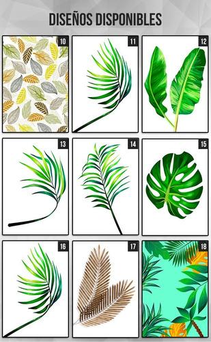 cuadros con marco y vidrio. hojas. verde. plantas. 30x40cm